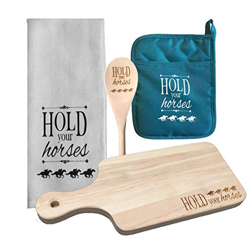 Hold Your Horses 4-Piece Kitchen Set Bundle – Wooden Cheese Board, Tea Towel, Teal Pot Holder, Wooden ()