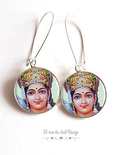 Hindu goddess glass cabochon earrings, portrait of Vishnu, Hindu goddess Vishnu, India, Indonesia, lucky ()