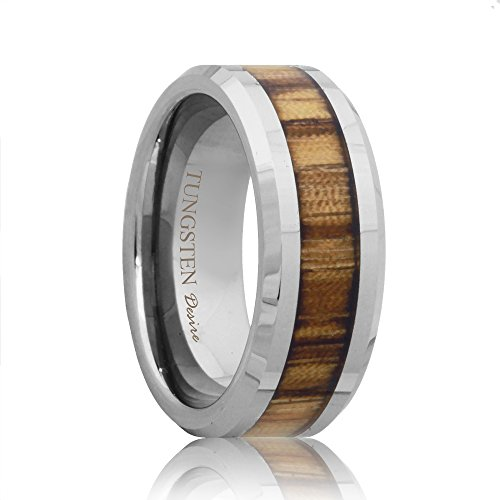 Calgary Tungsten Inlay Zebra Wood Wedding - Women Calgary Band