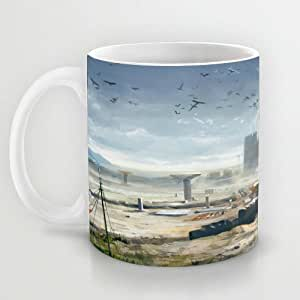 Great Gift Choice - Gaming Mugs,White 11 oz Classic White Ceramic Mugs with Battlefield Map Art Coffee Mugs/Tea Mugs/Drink Cups - Dishwasher and Microwave Safe