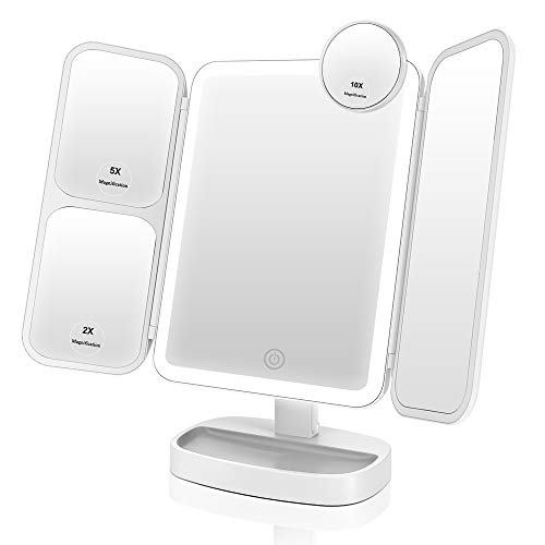 EASEHOLD Lighted Makeup Mirror Ultra-Thin 2x/5x/10x Magnifying Light Up Mirror Adjustable Soft Bright Led Tri-Fold Mirror [Upgrade Version] (White)