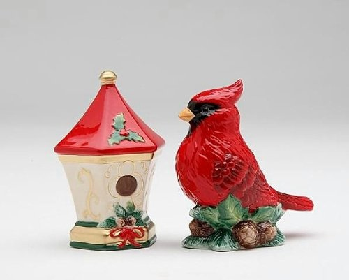 Cardinal with Birdhouse Salt and Pepper Set by Cosmos Gifts (Birdhouse Salt)