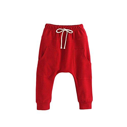 Verypoppa Baby Boys Girls Hip-Hop Big Pocket Casual Harem Pants Trousers (90 (2-3 Years), Red)