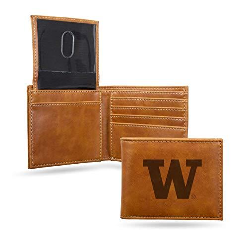 (Rico Industries NCAA Washington Huskies Laser Engraved Billfold Wallet, Brown)
