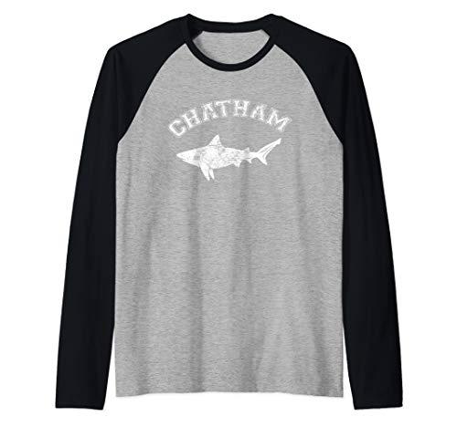 Chatham MA Great White Shark MA Massachusetts The Cape Raglan Baseball Tee