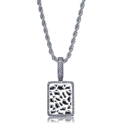 (TOPGRILLZ 14K Gold and Silver Plated Iced Out CZ Lab Cluster Diamond Big Rock Solitaires Dog Tag Pendant Necklace Chain for Men Hip Hop (Silver Nugget Square))