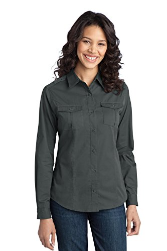 Port Authority Ladies Stain-Resistant Roll Sleeve Twill Shirt. L649 Steel Grey ()