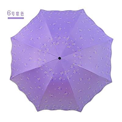 KHSKX-Les Ombres Parapluie Noir Parapluie De Caoutchouc Anti - Uv Anti - Vague Edge Parapluie Trois Sai