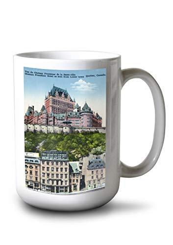 Lantern Press Quebec, Canada - Exterior View of The Chateau Frontenac from Lower Town (15oz White Ceramic Mug)