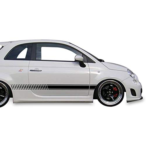 Bubbles Designs 2X Decal Sticker Vinyl Side Racing Stripes Compatible with Fiat 500 Abarth 2007-2016 (Best Exhaust For Abarth 500)