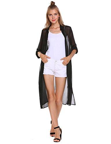 - Zeagoo Women's Long Sleeve Open Front Long Chiffon Cardigan Roll Up Sleeve Button Shirt Top,Black,XXX-Large