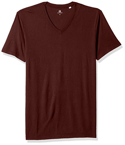 AG Adriano Goldschmied Men's Bryce Short Sleeve Vee Neck Tee, Deep Mahogany, ()