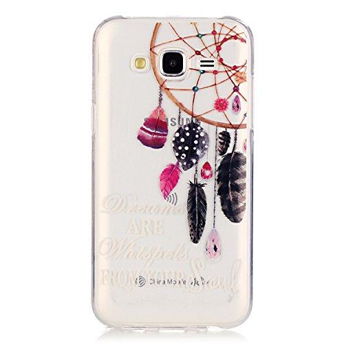 [Extremadamente Delgada] Funda Soft TPU TPU Silicona Transparent para Samsung Galaxy J7 (2015) ,Samsung Galaxy J7 (2015) Case Ultra Fina Cristal Clear, TOCASO Cute Pattern Cubierta Crystal Colored Pat Pluma Campanula