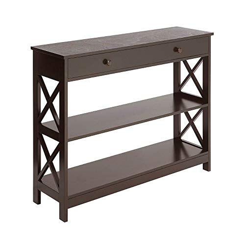 Hall Console Table with Drawer 2 Shelves Storage Entryway Foyer Accent Living Room Bookshelf Sofa Side Table Furniture Decor Living Room Unique Contemporary Design & eBook by BADA Shop -