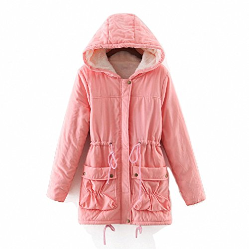 mewow Women's Winter Mid Length Thick Warm Faux Lamb Wool Lined Jacket Coat (M, Pink with Hood)