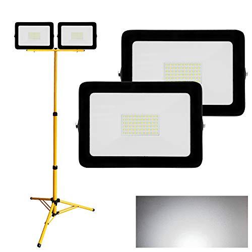 Hengda 2X LED Strahler 50W Kaltweiß + Stativ Fluter Flutlicht IP65 Wasserdicht 6500K Scheinwerfer 4250LM Außenstrahler…