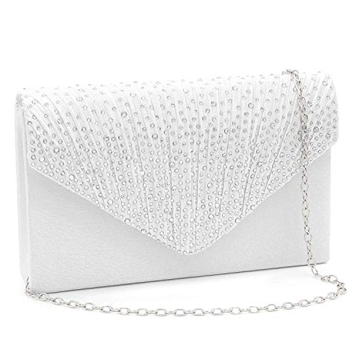 Milisente Clutch Purses for Women evening Glitter Wedding Purse Crystal Envelope Clutches Shoulder Bags (White)