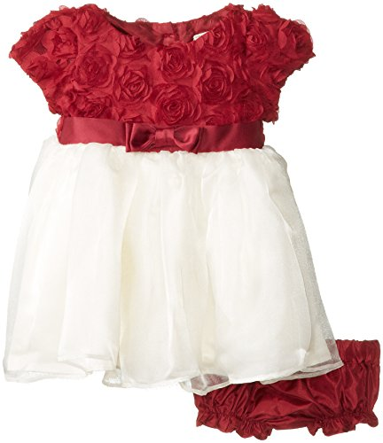 Nannette Baby-Girls Newborn 2 Piece Soutache Bodice Overlay Dress with Panty, Beige, 0-3 Months ()