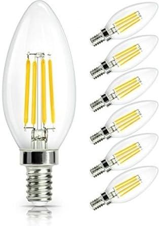 Kingkindsun E14 Bombillas de filamento de vela LED de 4 W, 40 W, bombillas