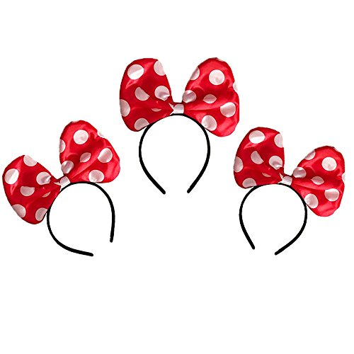 LED Minnie Mouse Headbands in Red Color with Polka Dots - Set of 3