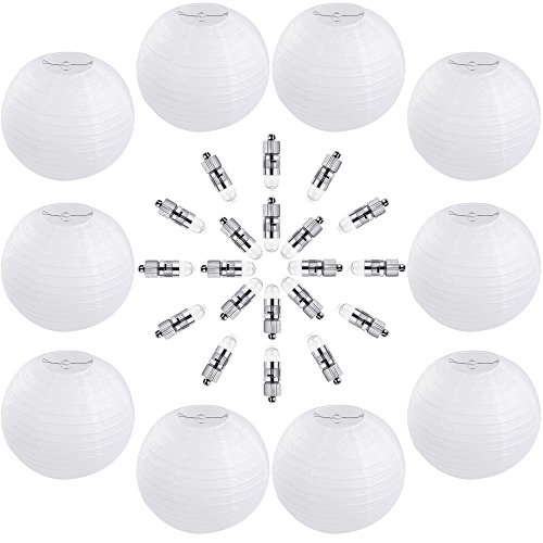 Vastar 10 Packs 12 Inch White Round Paper Lanterns, 20 Packs White LED Party Lights for Paper Lanterns and Extra 60 LED light Batteries