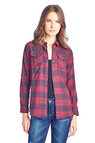 ICONICC Women's Long Sleeve Plaid Flannel Shirt (CT0023_7_S) ()