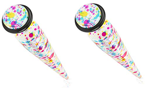 Body Accentz Earrings Solid Acrylic Printed Paint Splatter Fake Taper Faux Plug 16g Sold as Pair HO1813