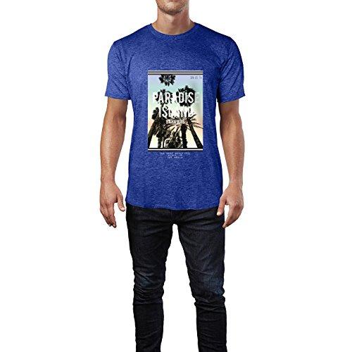 SINUS ART® Tropischer Print Paradise Island Bahamas Herren T-Shirts in Vintage Blau Cooles Fun Shirt mit tollen Aufdruck