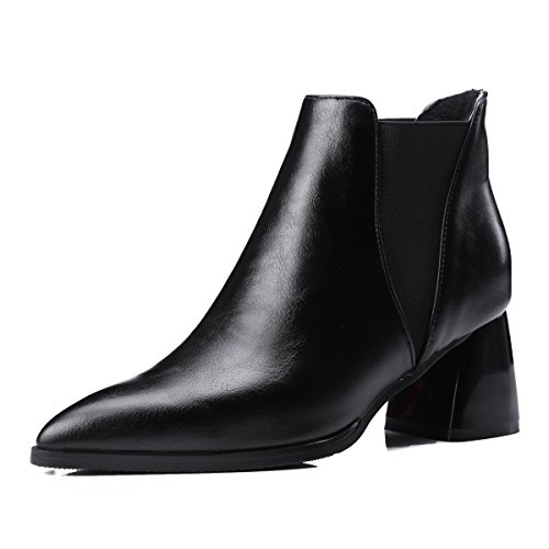 Heels Pointed High Ankle Chunky AIWEIYi Womens Black Boots toe 1qw54x