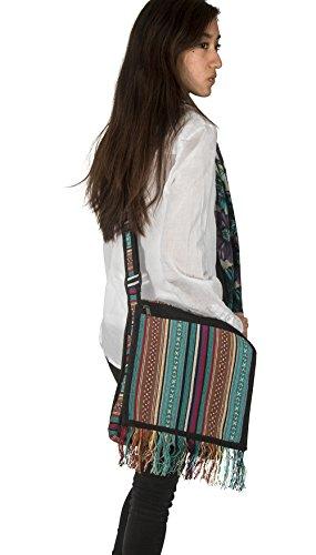 Woven Fashion Shoulder Unique Woven Azure Tribe Adjustable Roomy Bag Blue Tassel Strap Handbag Hobo Women Messenger 6wqBzBFPnW