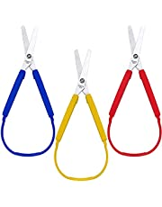 Scissors,Loop Scissors Colorful Grip Scissors Loop Handle Self-Opening Scissors Adaptive Cutting Scissors for Children and Adults Special Needs, 8 Inches (3 Packs)