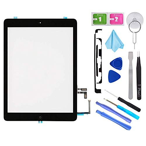 Camera Screen Replacement Lcd (T Phael Black Digitizer Repair Kit for iPad 5 A1474 A1475 A1476,iPad5 iPad Air 1st Touch Screen Digitizer Replacement Assembly -Inc Home Button +Camera Holder+ Pre-Installed Adhesive +Tools Kit)