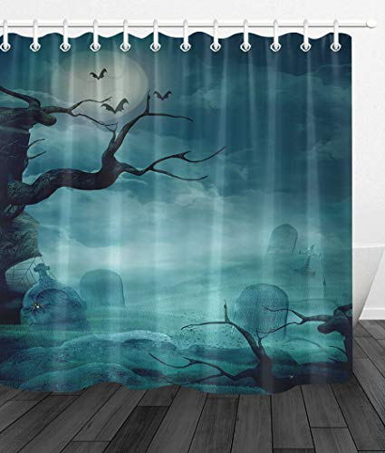 youyoutang Spooky Graveyard Naked Trees Bats Shower Curtain Liner Waterproof Fabric,3D High-Definition Printing Does Not Fade,12 Shower Hooks,70.8X70.8 Inch,Home Decor,Bathroom - Bats Naked