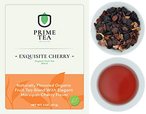 """FRUIT TEA - 2 Ounce ≈ 20-30 Servings - Organic Vegan Natural Caffeine Free Loose Leaf Tisane Super Delicious Fruity Mix - Aroma Blast - Hot and Iced -""""6o9 Class"""" - (Exquisite Organic Cherry, 2oz)"""