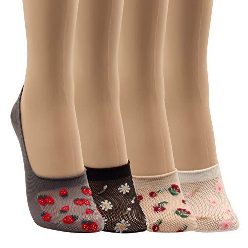 (WOWFOOT Women Animal Design No-Show Casual Liner Socks Character Print Non Slip Flat Boat Line 4 Pair (4pair-flower))