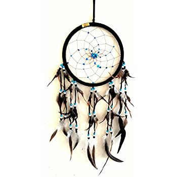 "Dream Catcher DreamCatcher - BLACK SUEDE WITH TURQUOISE STONE - Handmade, LARGE SIZE - 28"" Long x 9"" Diameter - OMA BRAND (Black)"