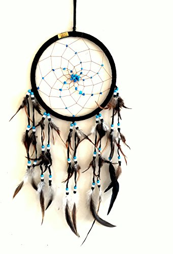 OMA Dream Catcher Dreamcatcher - Black Suede with Turquoise Stone - Handmade, Large Size - 28