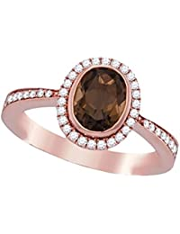 14k Rose Gold Brandy Smoky Quartz Diamond Chocolate Brown Oval Halo Bezel Beautiful Ring 1-1/3 Ctw.