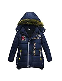 AMSKY Clearance Sale Toddler Baby Boy Kids Fashion Hooded Fur Thick Jacket Coat Winter Warm Clothes Outwear