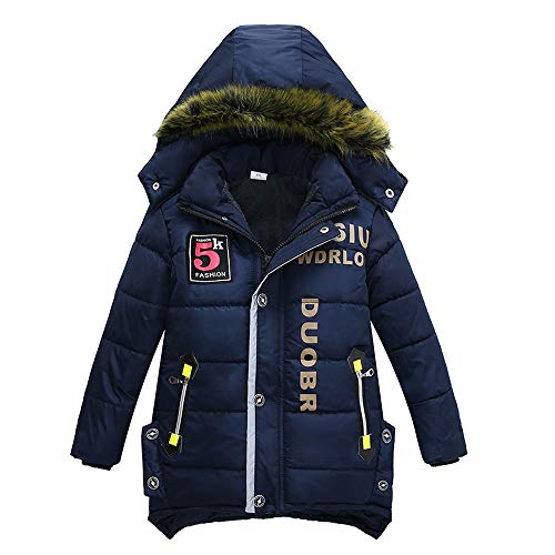 Kids Boys' Winter Warm Padded Puffer Coat with Faux Fur Hood Thick Hooded Outwear Down Snowsuit Jacket for Big Boys (Dark Blue, 6-7T)
