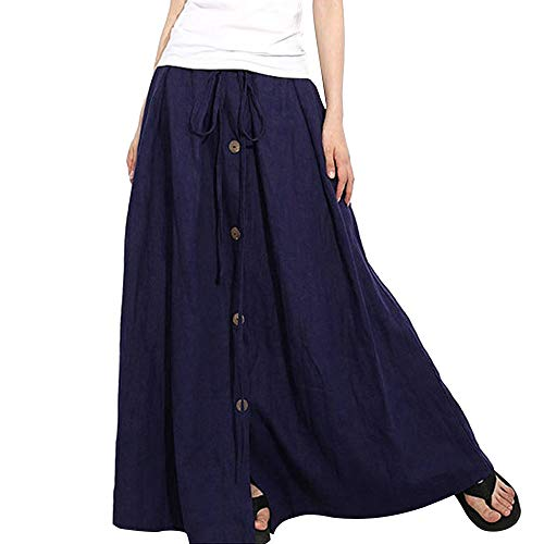 NREALY New Women's A-Line Elastic Waist Casual Button Flare Full Length Long Maxi Skirt(XL, Navy)