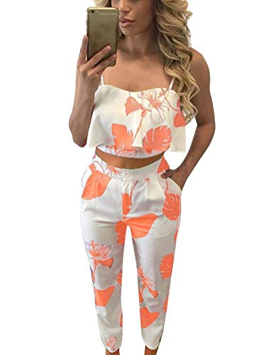 Orange Outfit - FANCYINN Women 2 Pieces Jumpsuit Romper Spaghetti Strap Top and Long Pants Casual Style Orange Leaf XL