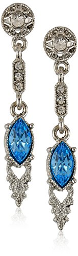 Downton Abbey Boxed Silver-Tone Aquamarine and Crystal Drop Earrings