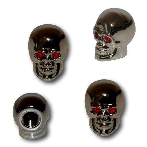 Set de 4 bouchons de valve en forme de tête de mort aux yeux rouges pour moto et auto free shipping