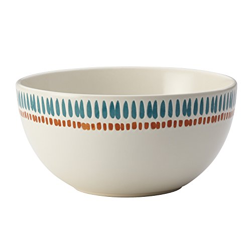 (Rachael Ray Cucina Sun Daisy Dinnerware 5.5-Inch Stoneware Cereal Bowl, Agave Blue and Pumpkin)