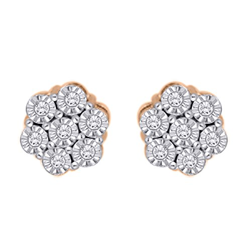 Diamond Floral Stud Earrings in 14K Rose Gold (1/6 cttw) (JK-Color, (Diamond Floral Stud)