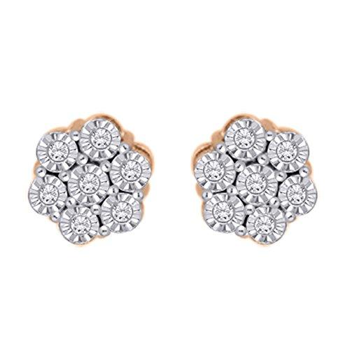 Diamond Floral Stud Earrings in 14K Rose Gold (1/6 cttw) (JK-Color, (Diamond Floral Stud)