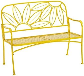 Mainstays Hello Sunny Outdoor Patio Bench, with Armrests, Rounded Corners and a Sturdy Frame, Enhances The Backrest That Greets You,Your Family and Guest Yellow