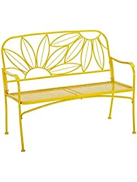 hello sunny outdoor patio bench with corners and a sturdy frame