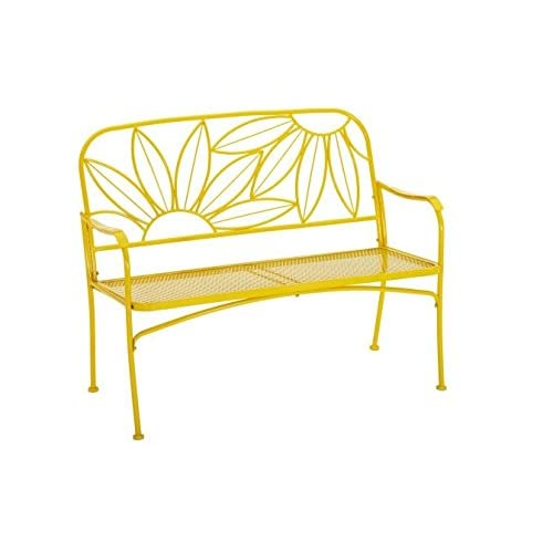 Cheap Hello Sunny Outdoor Patio Bench, with Armrests,rounded Corners and a Sturdy Frame, Enhances the Backrest That Greets You,your Family and Guest, Yellow (Sunny Yellow) (Sunny Yellow)